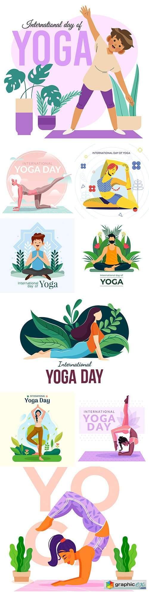 Yoga International day and meditation design illustration 8