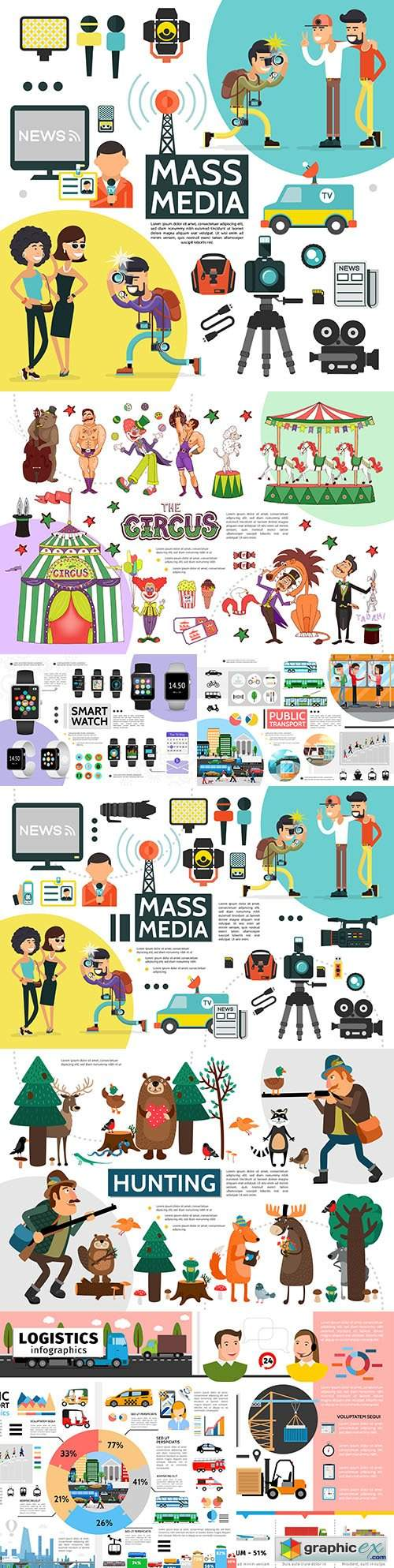 People, objects and animals collection infographic elements and icons