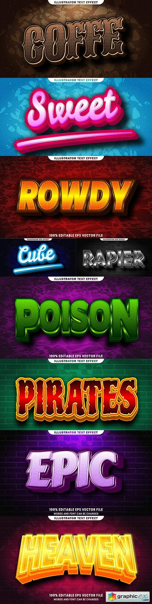 Editable font and 3d effect text design collection illustration 75