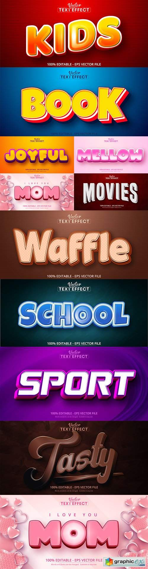 Editable font and 3d effect text design collection illustration 74