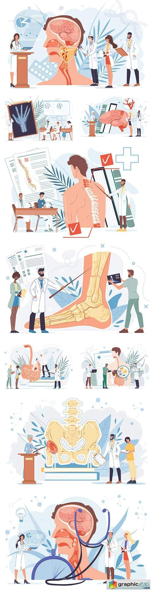 Cartoon heroes flat doctor at work and therapy concepts