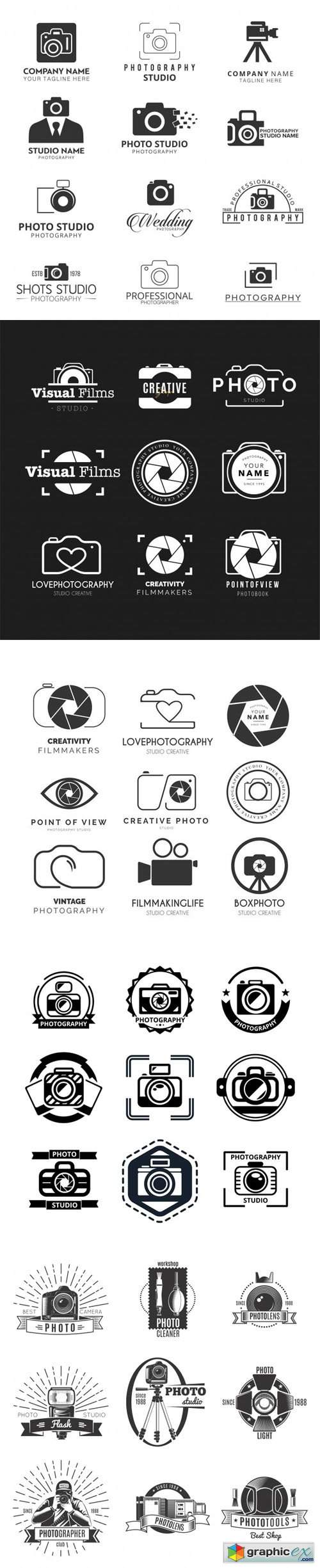 48 Photography Logos and Badges Vector Templates