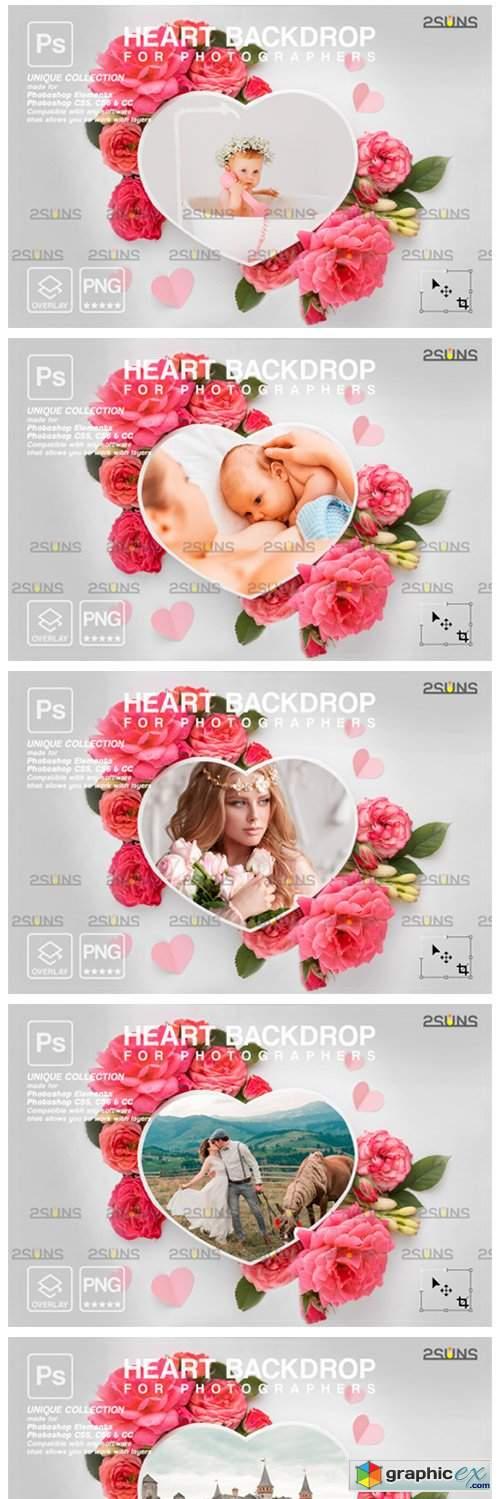 Heart Flower Digital Frames Overlay