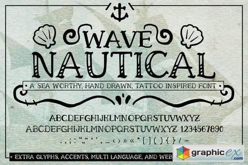 Wave Nautical Font Handwritten Tattoo Web Fonts