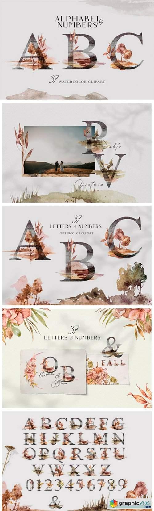 Watercolor Floral Alphabet Clipart