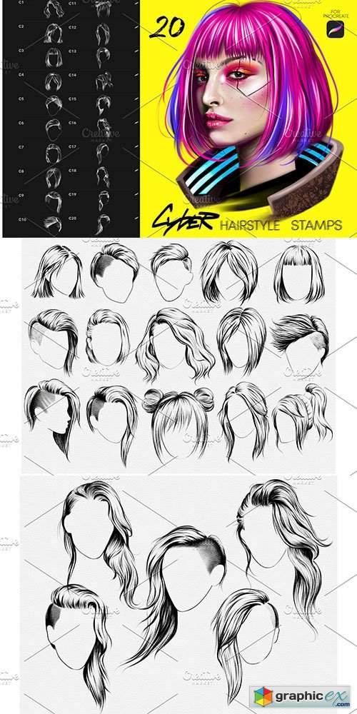 CyberPunk Hair Procreate Brushes