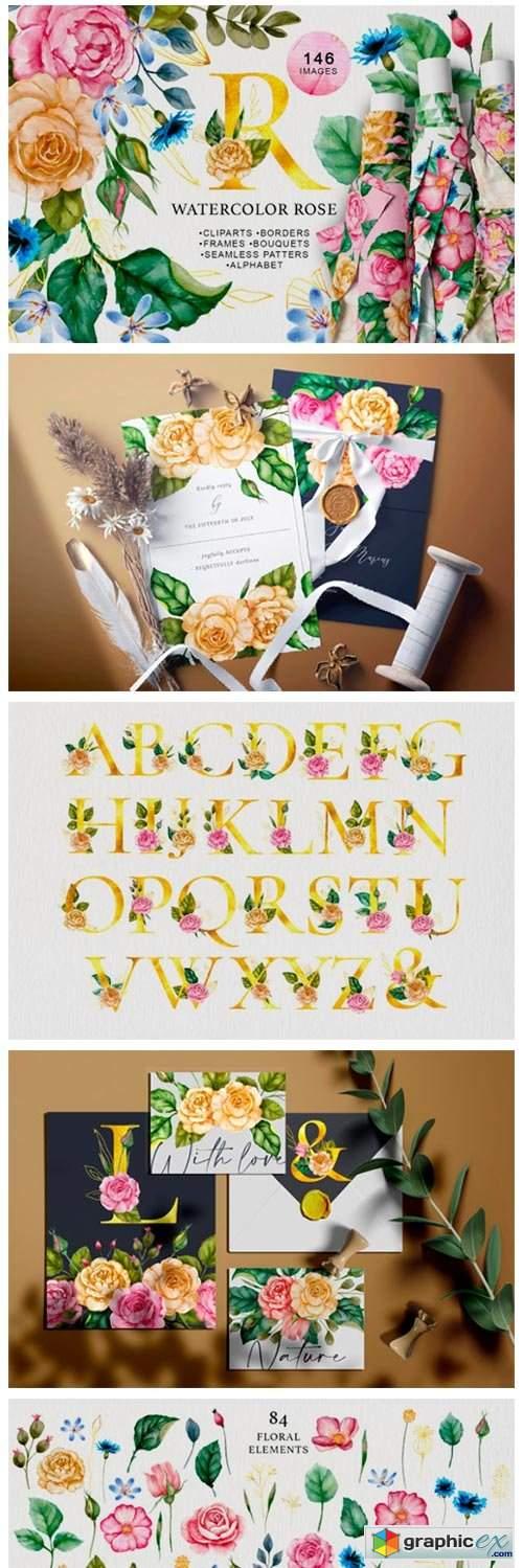 Watercolor Flowers & Golden Alphabet