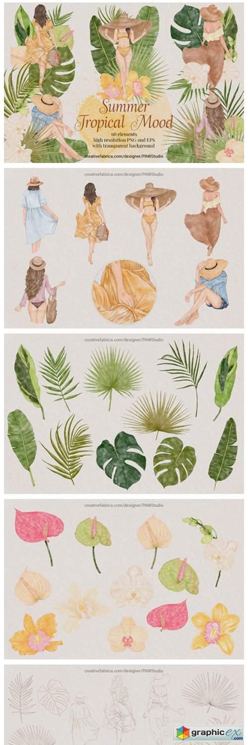 Summer Tropical Fashion Girls Clipart