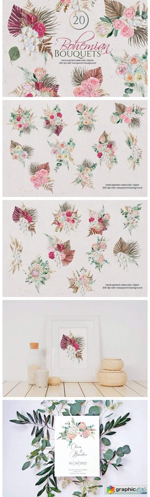 Watercolor Boho Bouquet