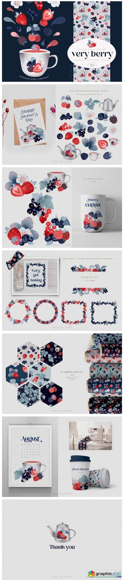 Gouache Berries and Seamless Patterns