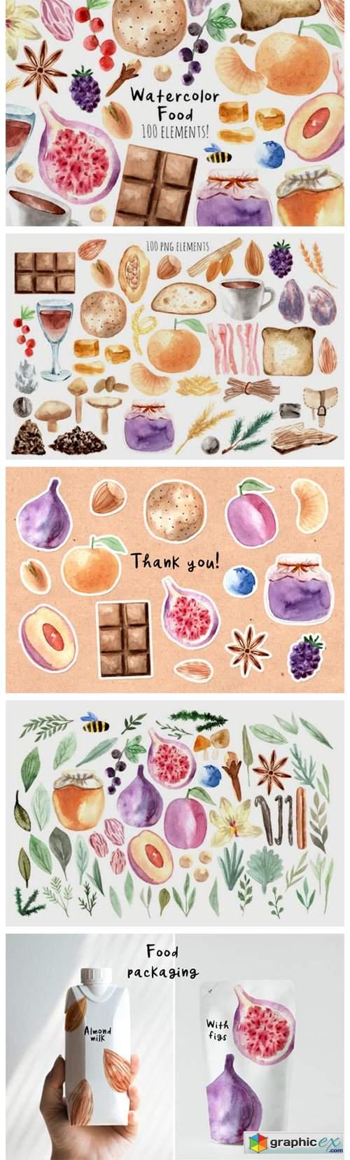 Watercolor Food. 100 Cliparts