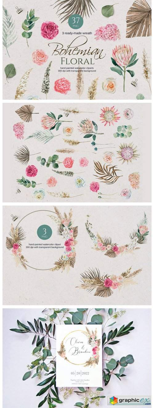 Boho Watercolor Floral Clipart