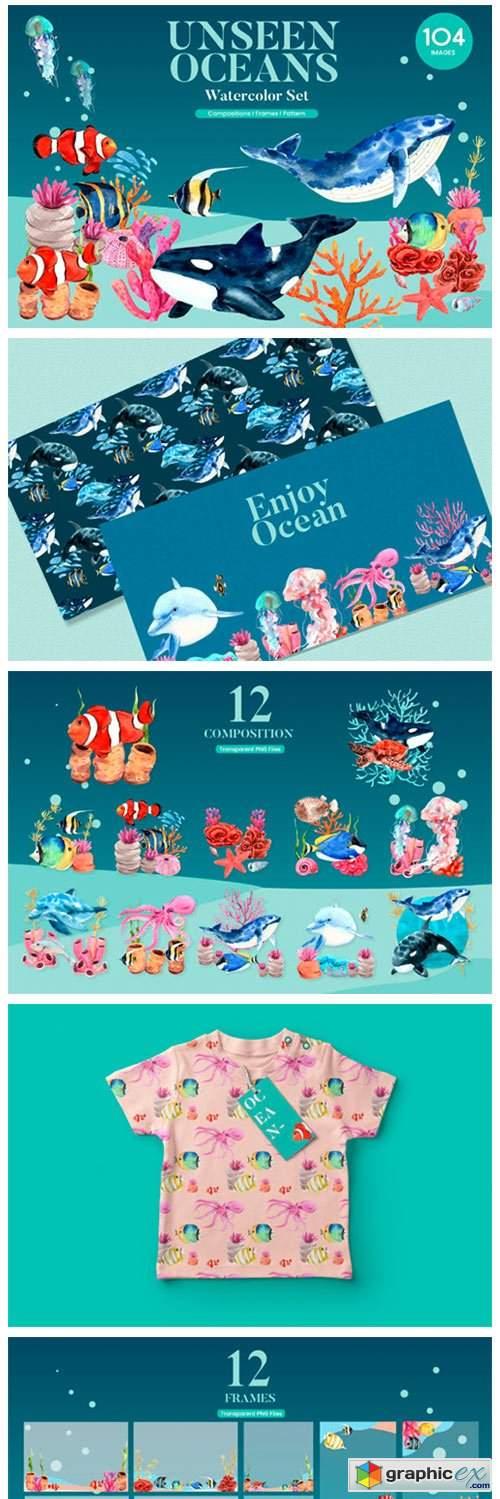 Unseen Oceans & Sealife Watercolor Set