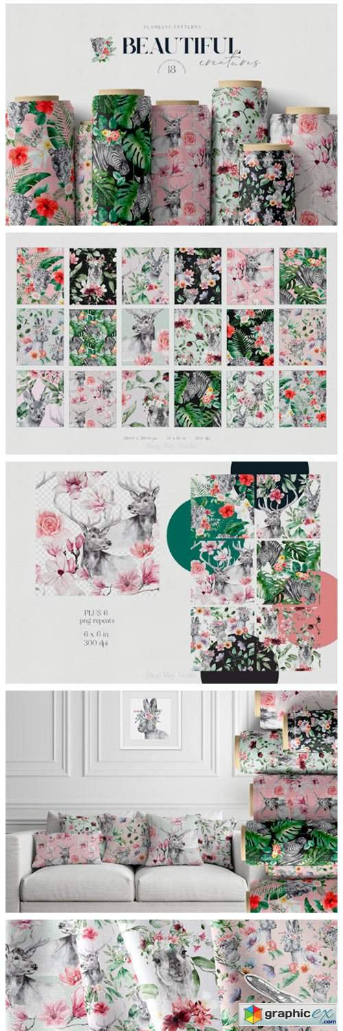 Animals and Flowers Seamless Patterns