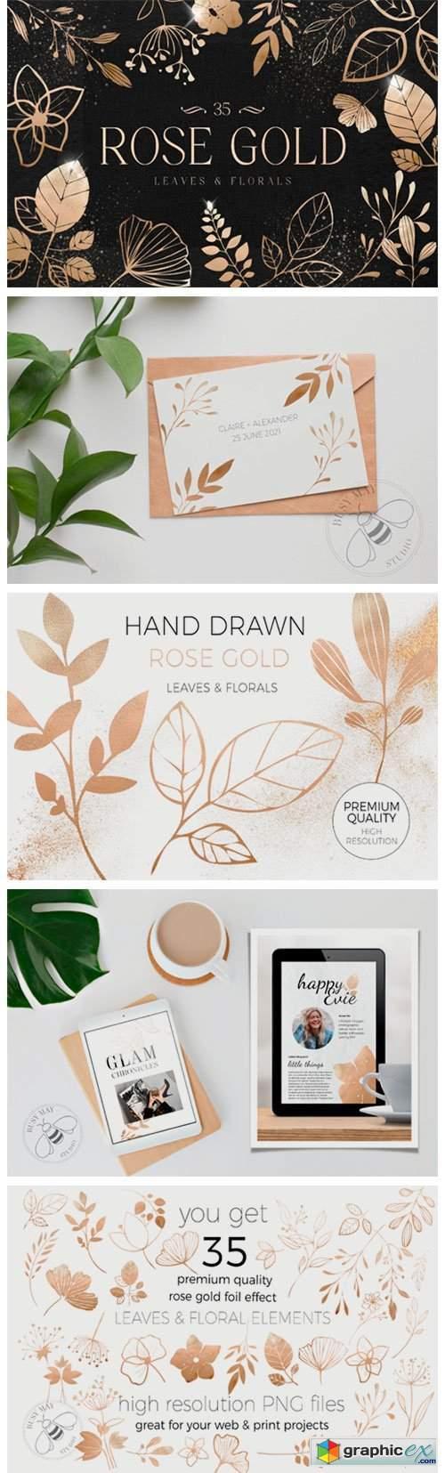 Rose Gold Leaves Florals Foil Elements