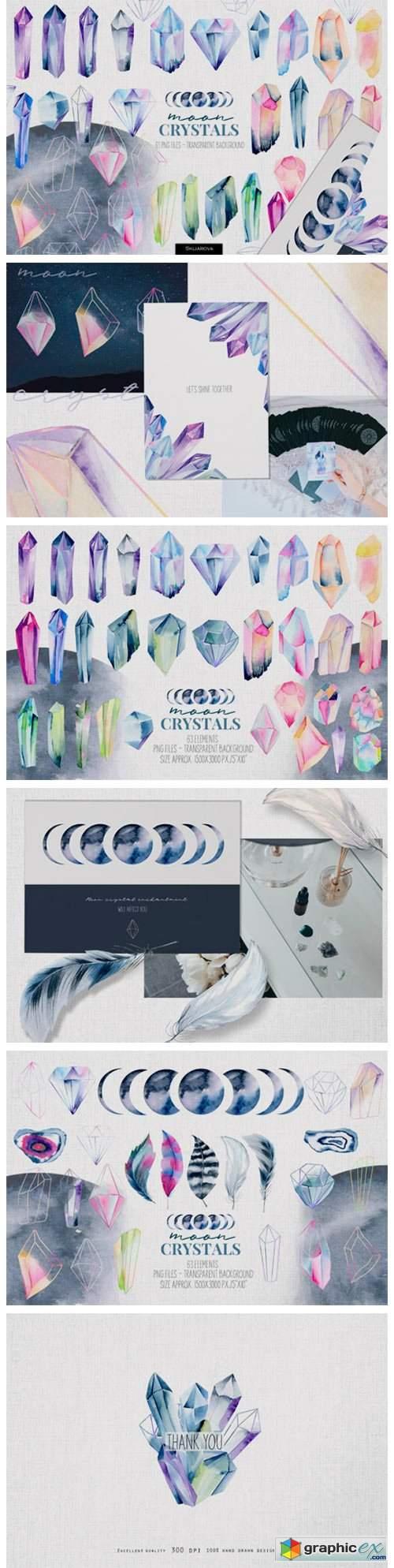 Crystals. Watercolor Set
