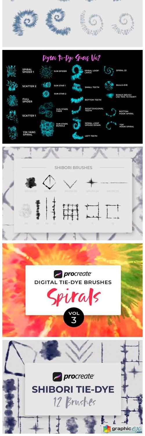 Procreate Tie-Dye Brush Bundle