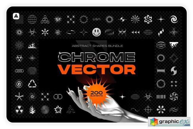 Chrome & vector abstract shapes pack