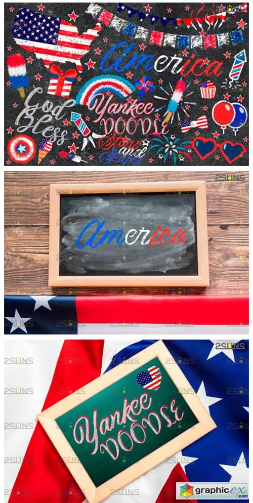 Chalk Art Overlay 4th of July, Photoshop