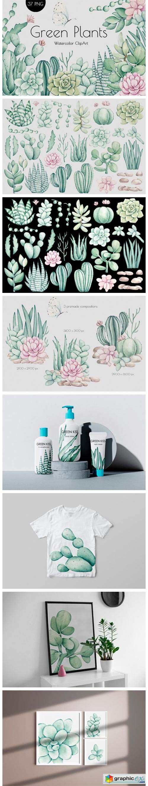 "Watercolor ClipArt ""Green Plants"""
