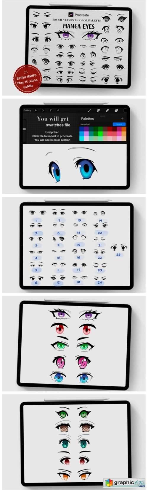 Manga Eyes Procreate Brush Stamps