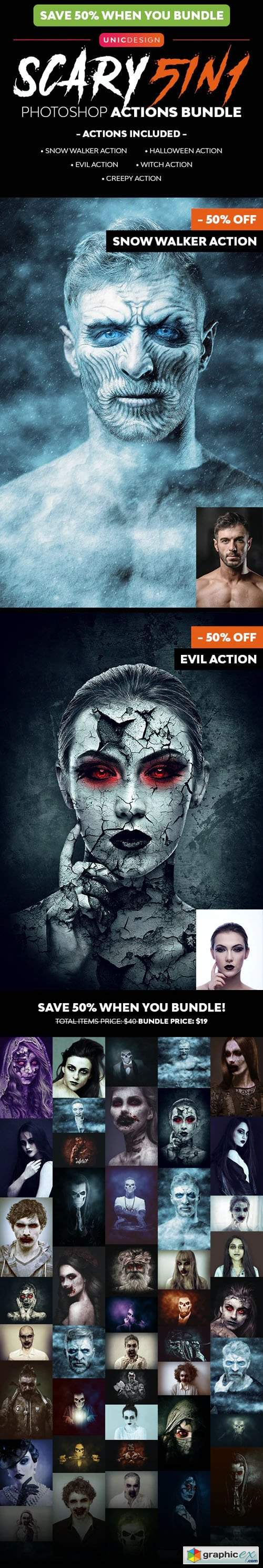 Scary Photoshop Actions - 5in1 Bundle
