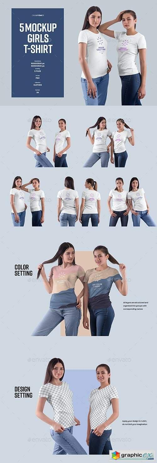5 Mockups Girls T-Shirt