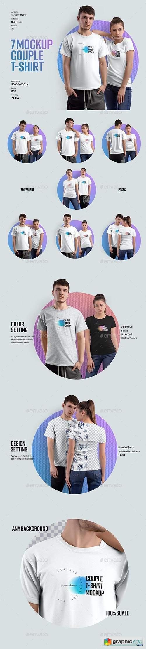 7 Mockups Couple T-Shirt