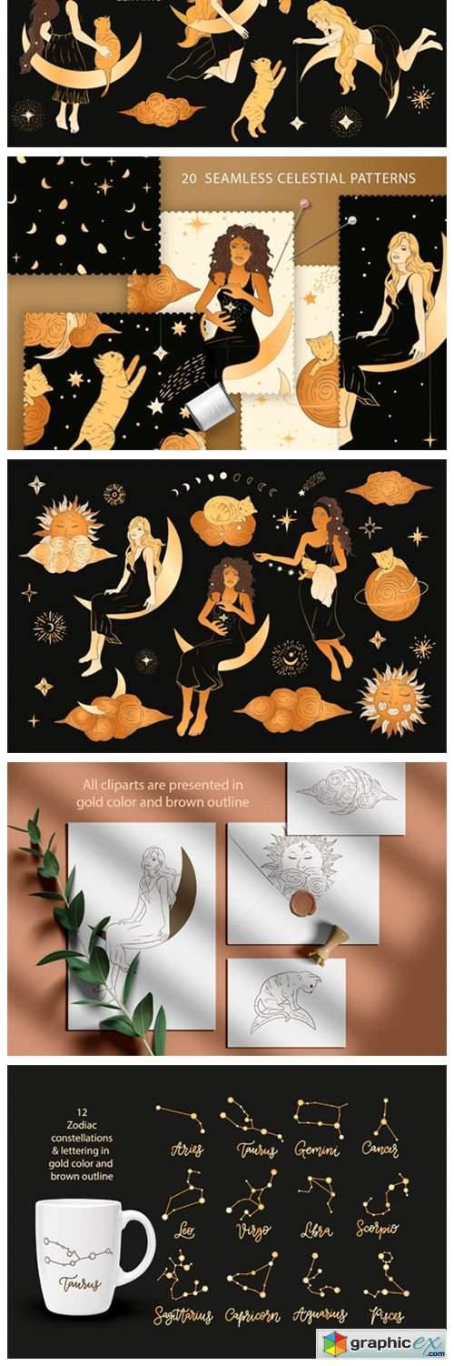Celestial Magic. Cliparts & Patterns