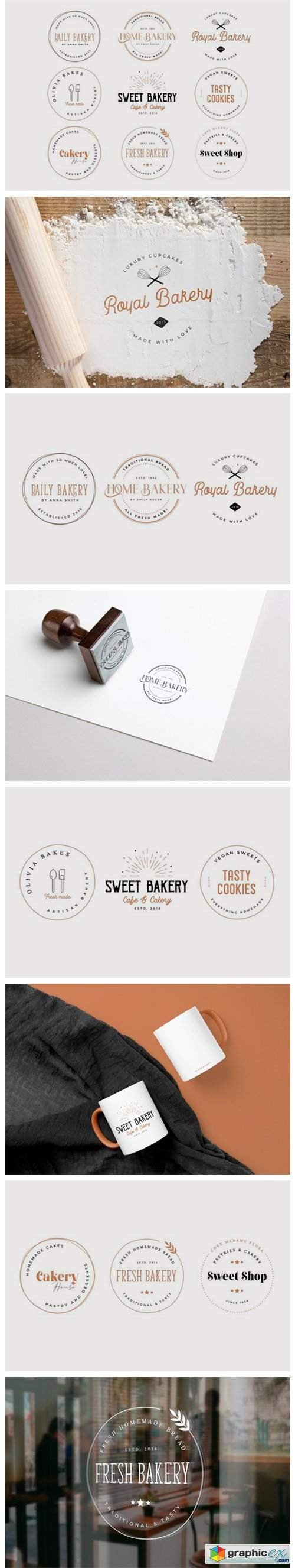 Bakery Stamp Logo Collection