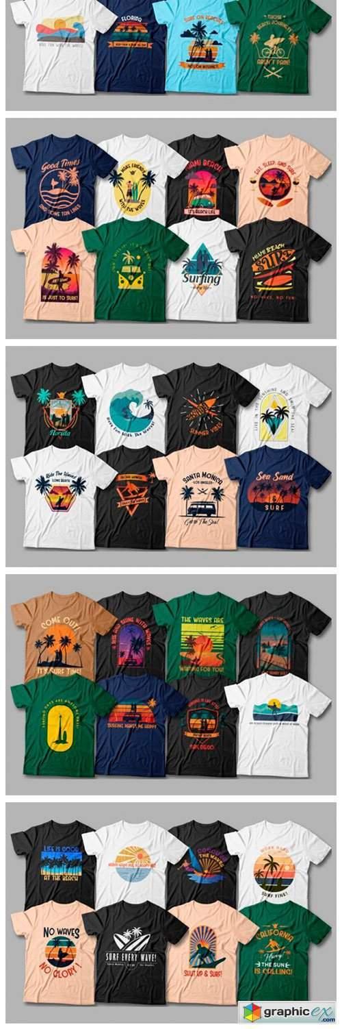 Surfing T-shirt Designs Bundle Editable