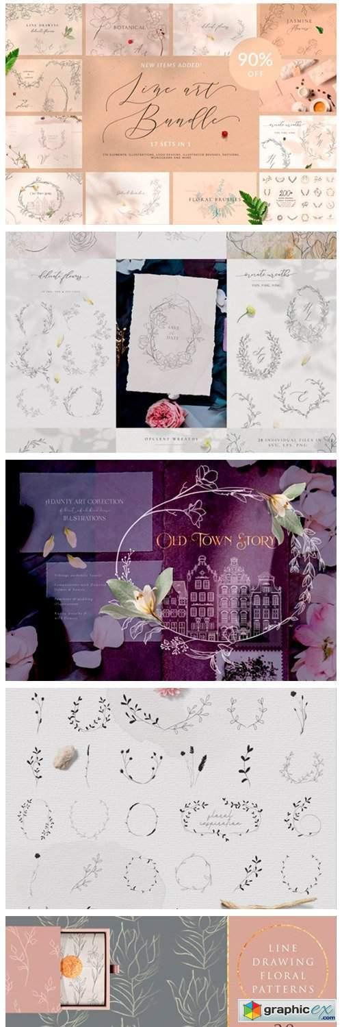 Line Art Floral Graphic Bundle. Icons.
