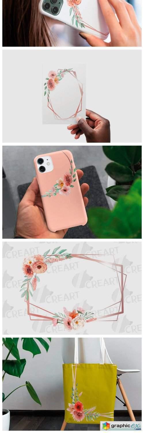Coral & Blush Pink Floral Bridal Frames