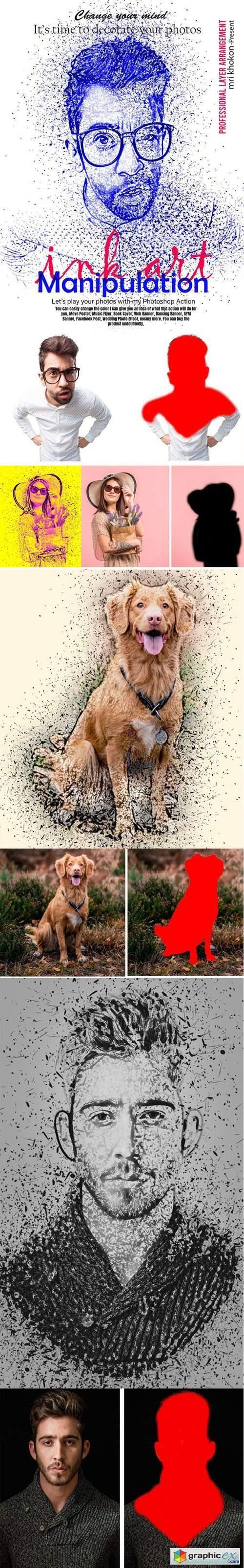 Ink Art Manipulation Photoshop Action + Brushes