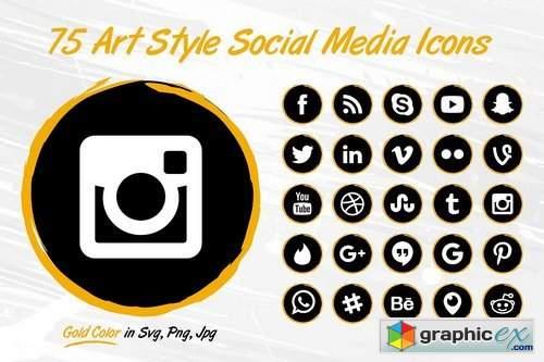 75 GOLD Art Style Social Media Icons 1808917