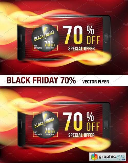 Black Friday 70% Flyer Template 2006937