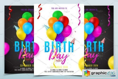 Birthday party flyer template 1828750