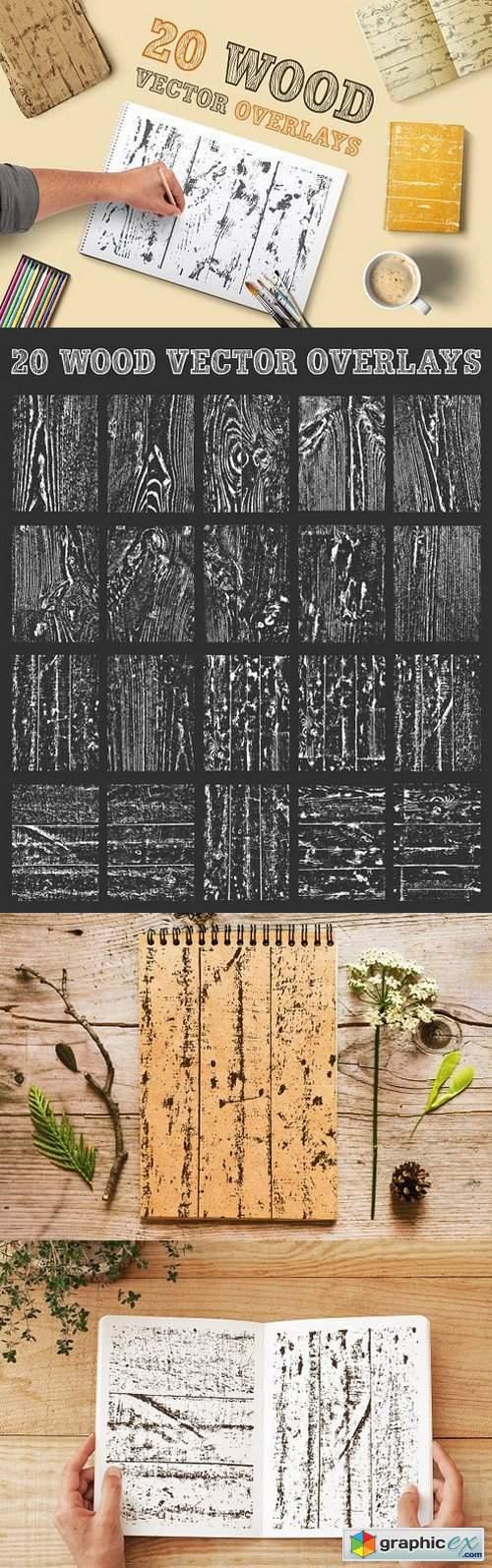 Wood Texture Vector Overlays