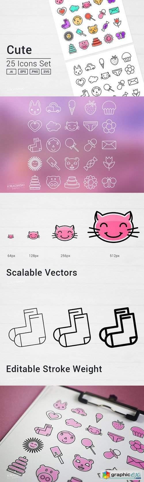 Cute Things Icons Set