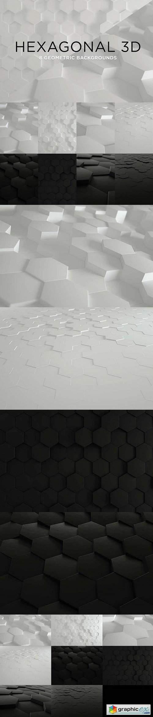3D Geometric Background - Hexagons