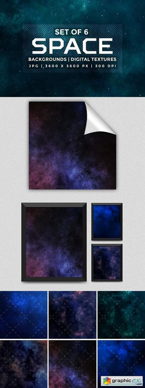Set of 6 space background textures