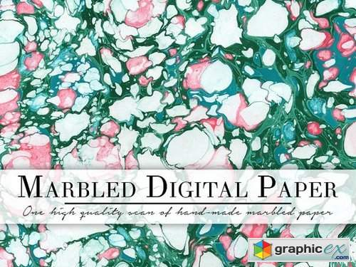 Green & White Marbled Paper