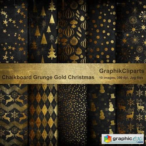 Chalk Grunge Gold Christmas Papers