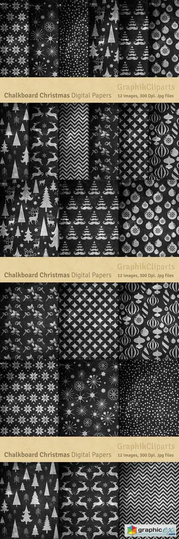 Chalkboard Christmas Digital Papers