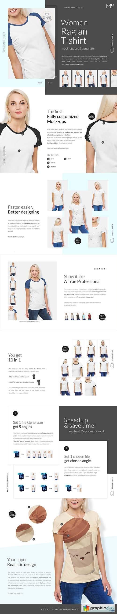 Woman Raglan T-shirt Mock-ups Set