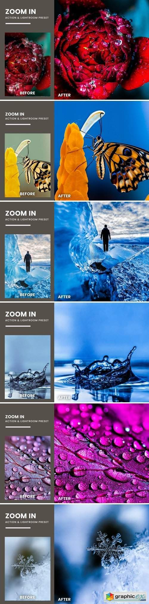 Zoom In Fx Photoshop Action & Lightrom Presets