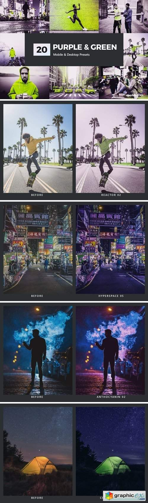 20 Purple & Green Lightroom Presets and LUTs