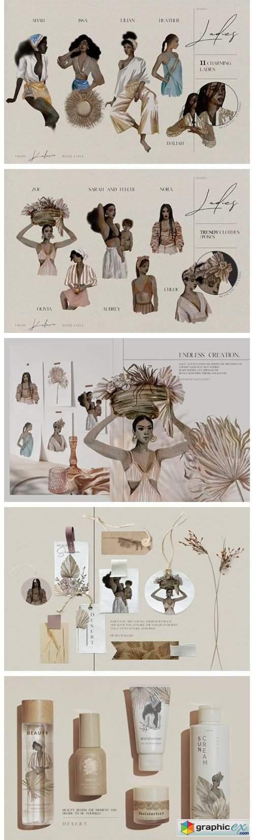 Beautiful African Ladies in Watercolor