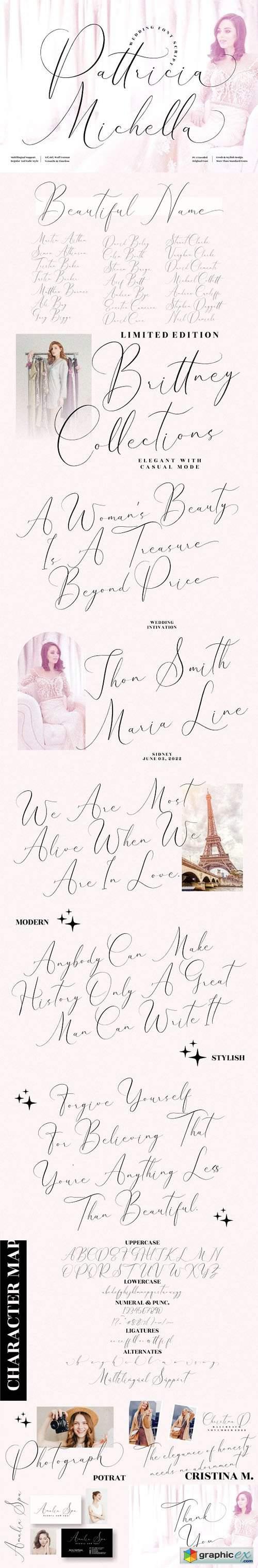 Pattricia Michella - Wedding & Romantic Script Font [2-Weights]