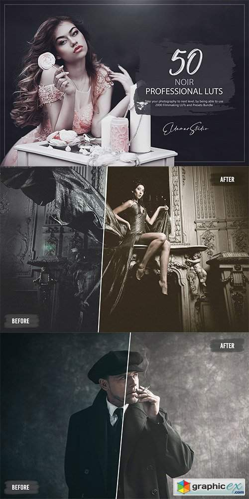 50 Noir LUTs and Presets Pack